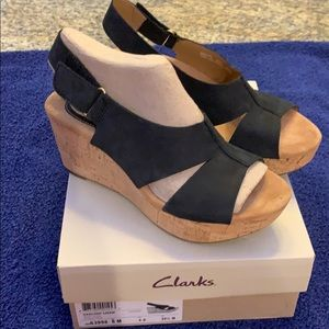 NEW Clark's Artisan black nubuck, slingback wedge